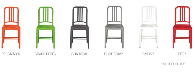 de la silla emeco 111 navy chair fabricada con 111 botellas de