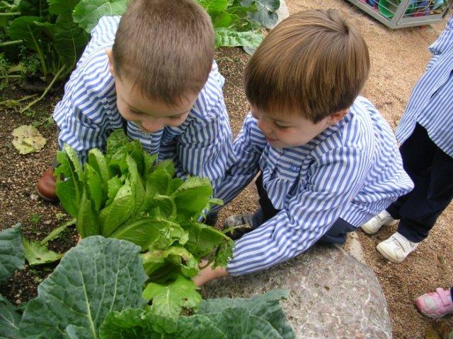 Nenes en la huerta