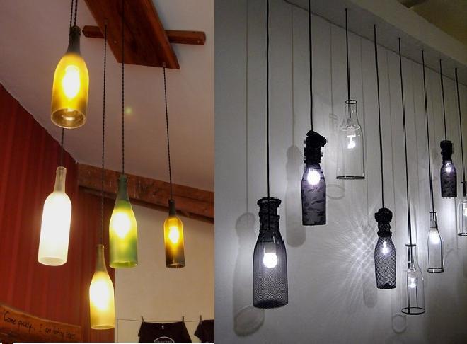 Lamparas de botellas espacio sustentable - Como hacer lamparas de techo artesanales ...