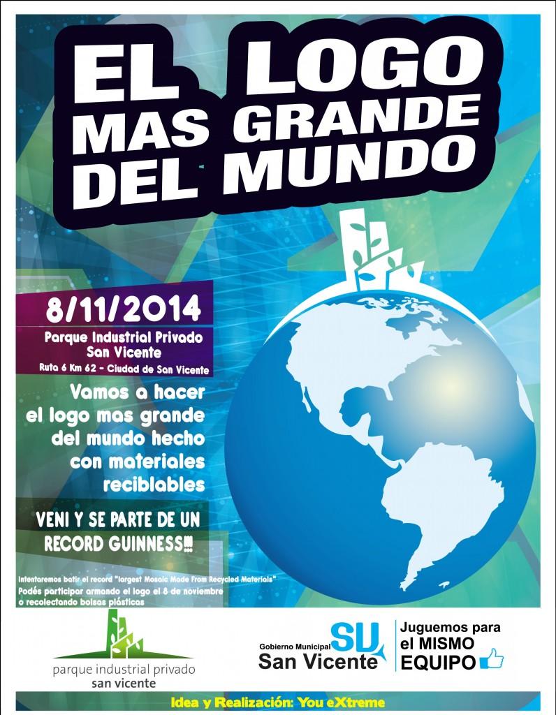 San Vicente haá el logo más grande del mundo con materiales reciclados