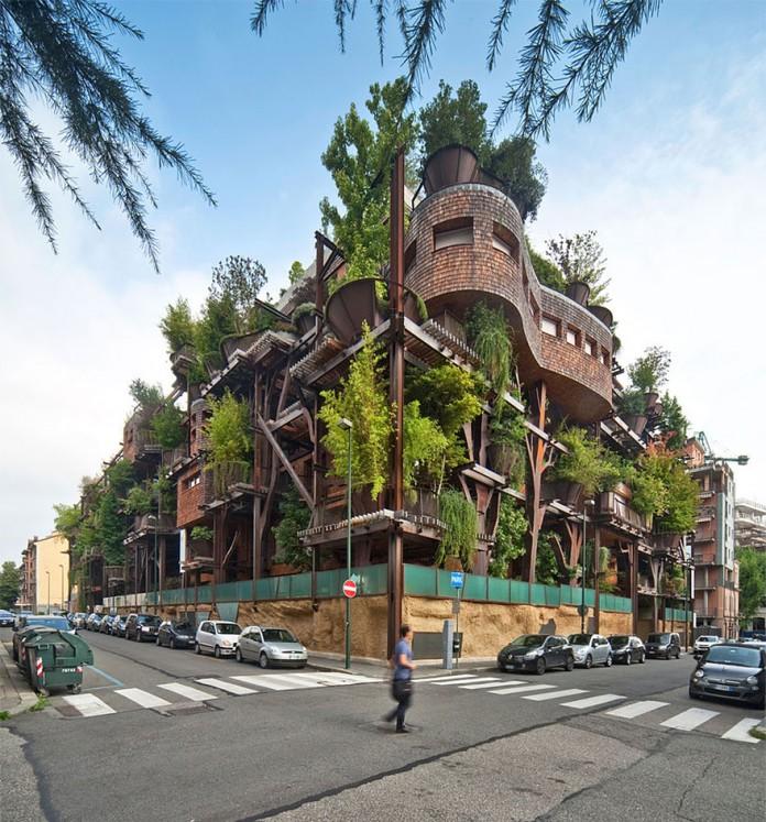 La construcción de un edificio verde requiere una serie de pautas en el proceso constructivo. En este caso Luciano Pia diseño un Edificio incorporando la vegetación a su proyecto.